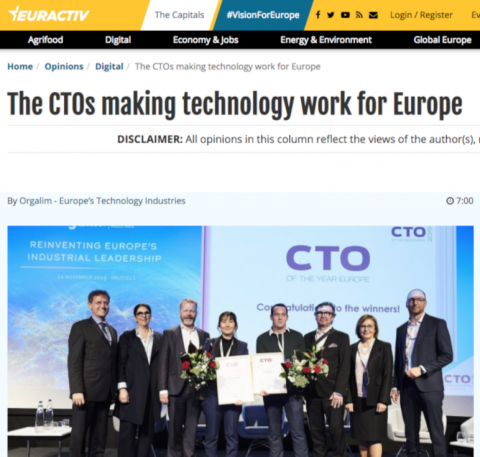 The CTO of the Year Europe award 2019...