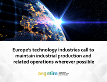 Europe's technology industries call to maintain industrial production and related operations wherever possible
