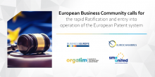 European business community calls for the rapid ratification and entry into operation of the European Patent system
